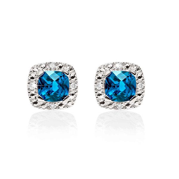 9ct White Gold London Blue Topaz and Diamond Studs