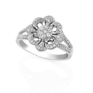 9ct White Gold Round Brilliant-cut Diamond Decorative Flower Ring
