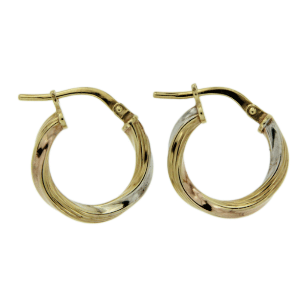 9ct gold 3 tone hoops