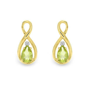 9ct gold peridot and diamond earrings