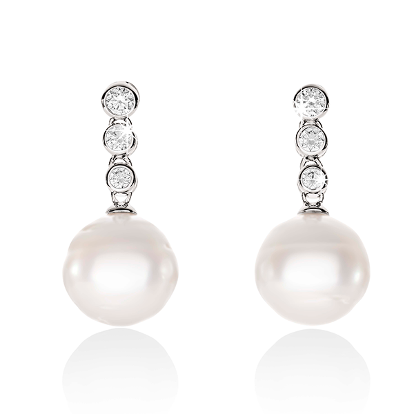 Arafura Cubic Zirconia South Sea Cultured Pearl Drops