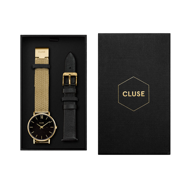 CLUSE Minuit Gold Black Gold Mesh & Black Leather Strap Gift Set
