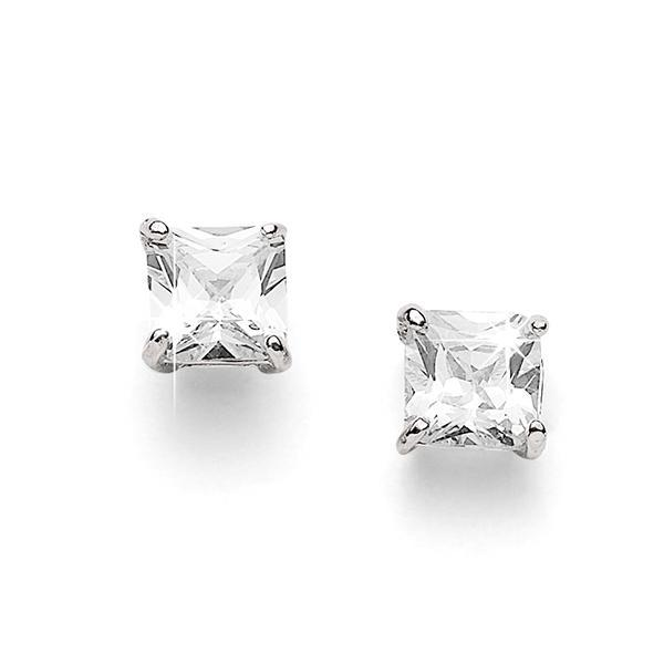 Silver 8mm princeSterling Silver cut cubic zirconia studs