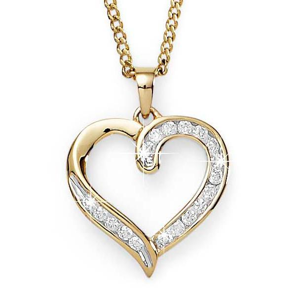 9ct Gold 0.25ct+ Diamond Heart Pendant