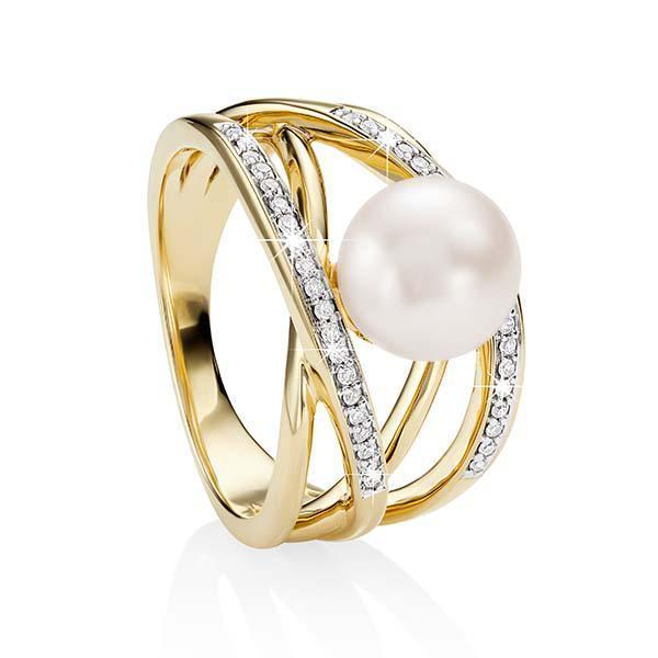9ct gold cultured freshwater pearl & diamond ring