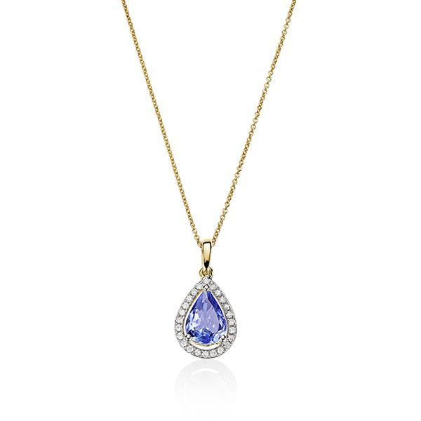 9ct Tanzanite & Diamond Halo Pendant