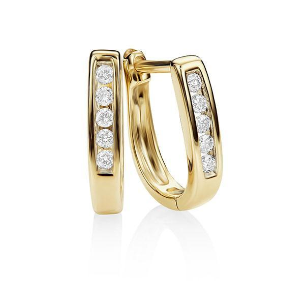 9Ct Gold 0.10Ct + Diamond Huggies