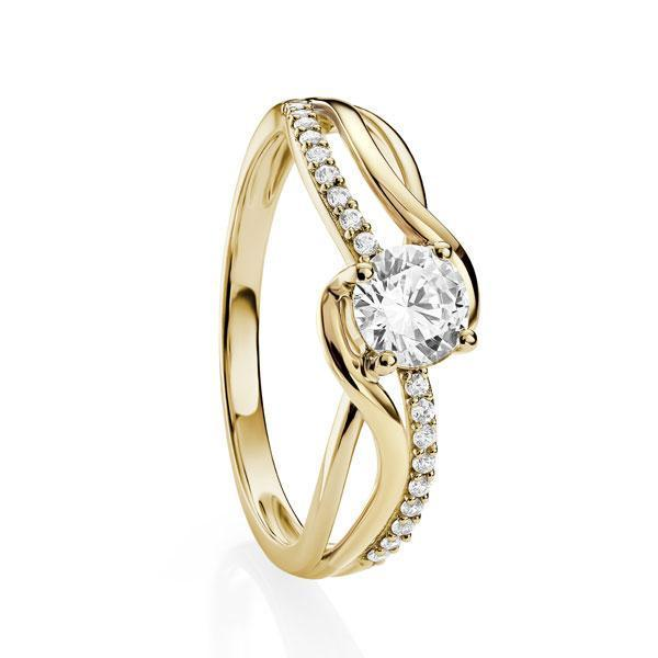 9ct YG 4 claw CZ ring with crossover CZ and polished shoulders