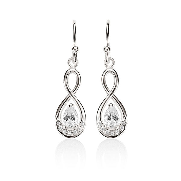 Sterling Silver Claw Set Pear Shaped Cubic Zirconia (CZ) Infinity Shepherd Hook Earrings