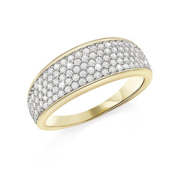 9ct yellow cubic zirconia pave set ring