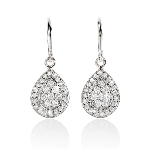 9ct white gold 0.36ct+ diamond cluster earrings