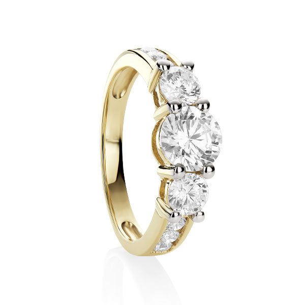 9ct gold claw set cubic zirconia ring