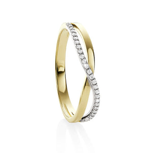 9ct gold crossover cubic zirconia ring