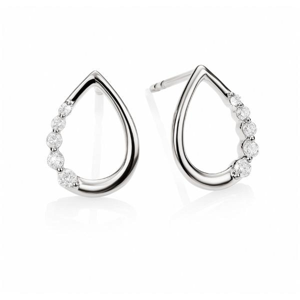 9ct white gold 0.10ct+ diamond tear drop studs