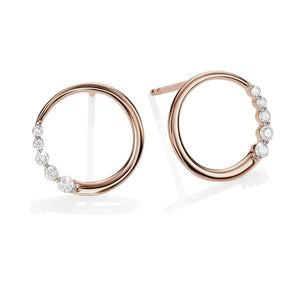 9ct rose gold 0.10ct+ diamond circle studs