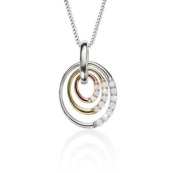 9ct 3/T oval 0.20ct+ diamond pendant #