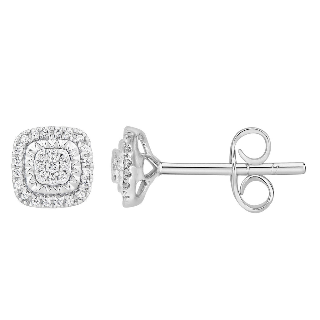 9ct WG diamond 0.25ct cluster cushion shpae earrings