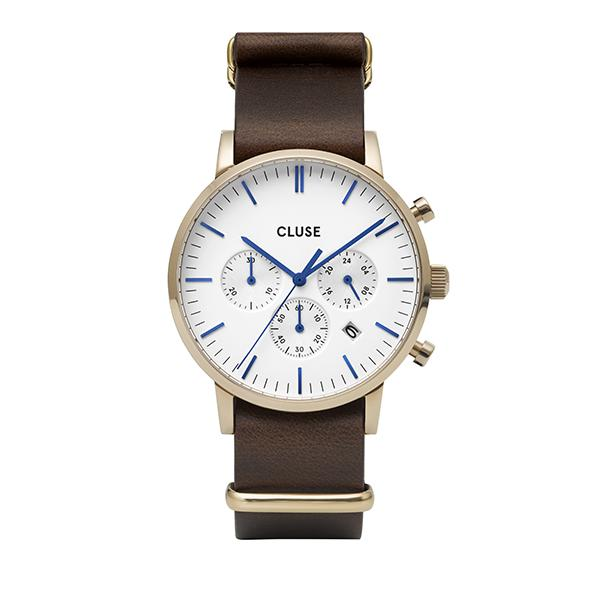 CLUSE Aravis Chrono Nato Leather Gold White/Dark Brown