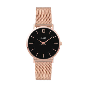CLUSE - Minuit Mesh Rose Gold Black Dial Watch CL30016