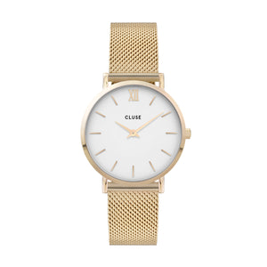 CLUSE - Minuit Mesh Gold White Dial
