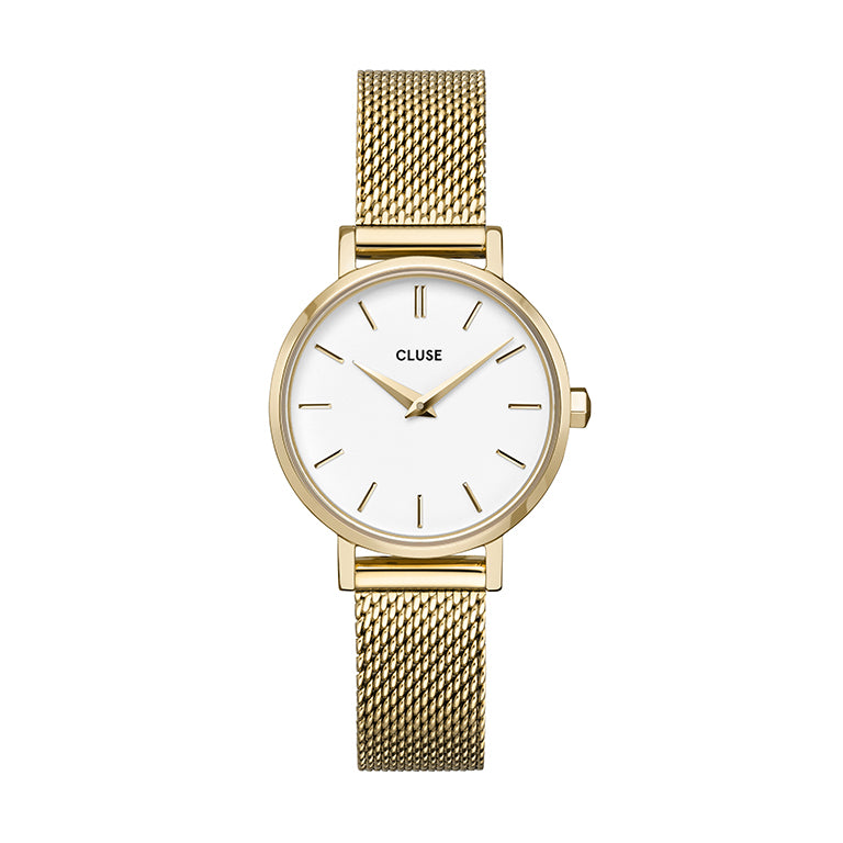 CLUSE Boho Chic Petite Gold White Gold Mesh Watch