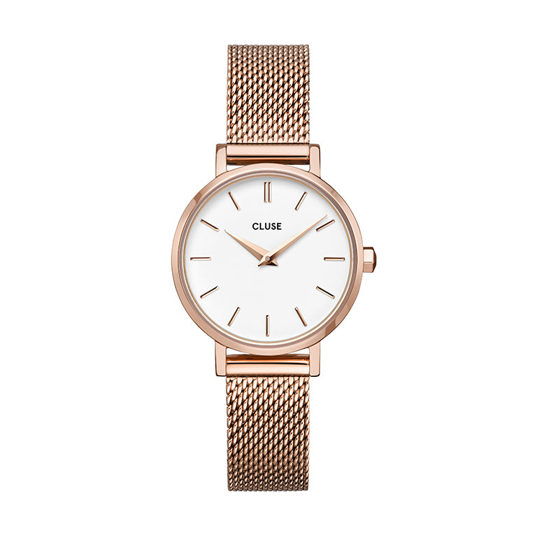 CLUSE Boho Chic Petite Rose Gold White Rose Gold Mesh Watch