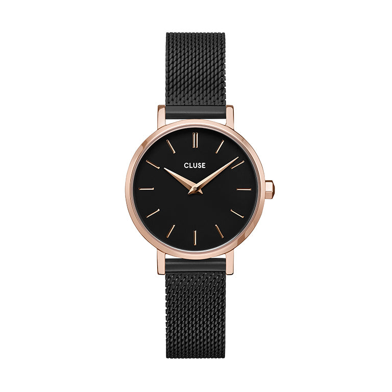 CLUSE Boho Chic Petite Rose Gold Black Black Mesh Watch