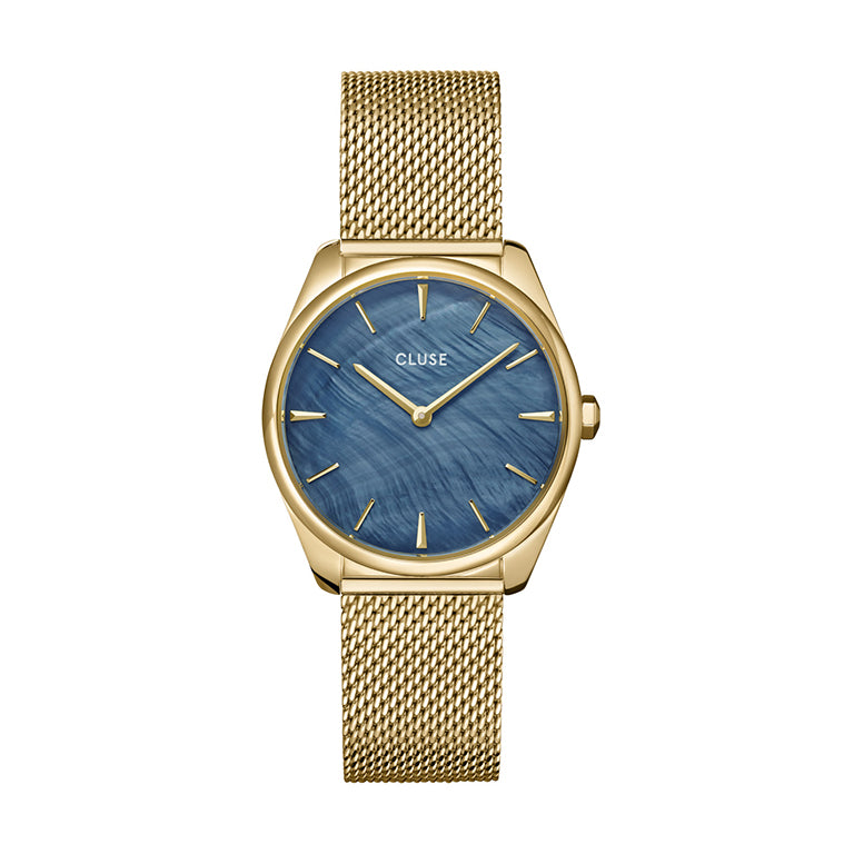 CLUSE Feroce Petite Blue Mother of Pearl Gold Mesh Watch