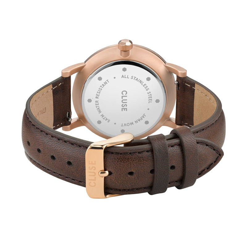 CLUSE Mens Aravis Rose Gold White/Dark Brown Leather Watch