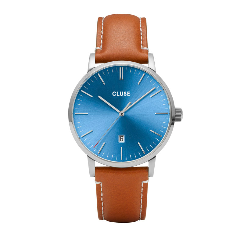 CLUSE Mens Aravis Silver Blue/Light Brown Leather Watch