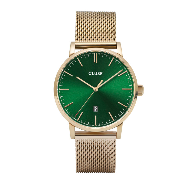 CLUSE Mens Aravis Gold Green/Gold Mesh Watch