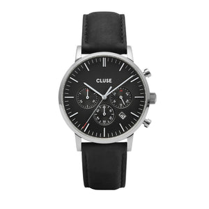CLUSE Mens Aravis Chronograph Silver Black/Black Leather Watch