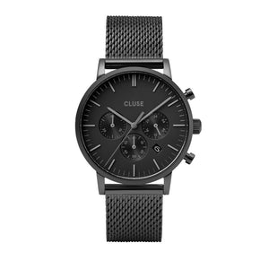 CLUSE Mens Aravis Chronograph Full Black Mesh Watch