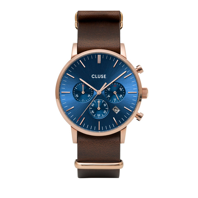 CLUSE Mens Aravis Chronograph Rose Gold Dark Blue/Brown Nato Watch