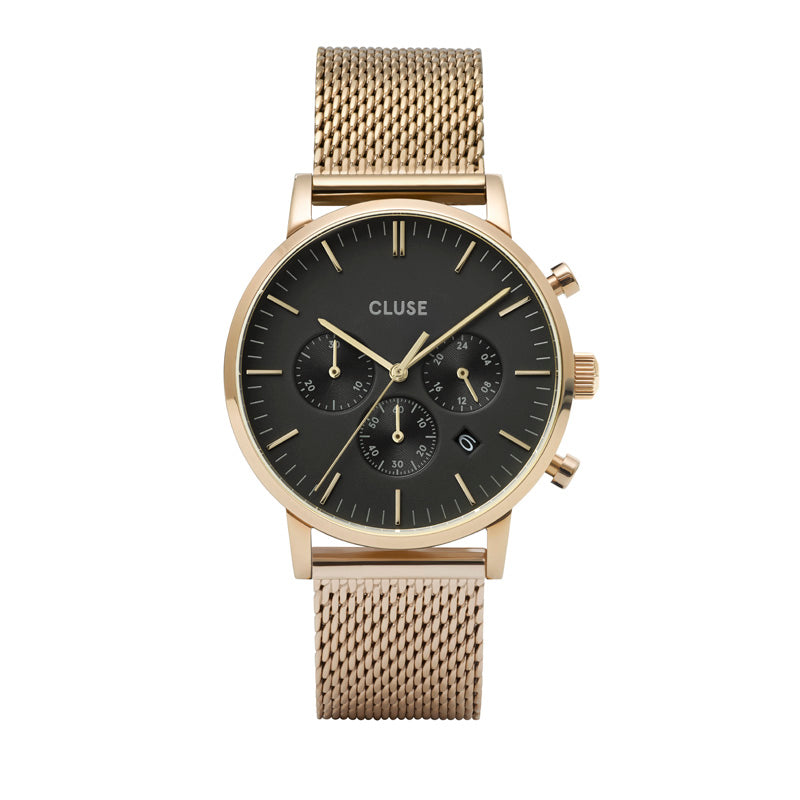 CLUSE- Aravis Chrono Mesh Gold Strap Black Face/ Gold