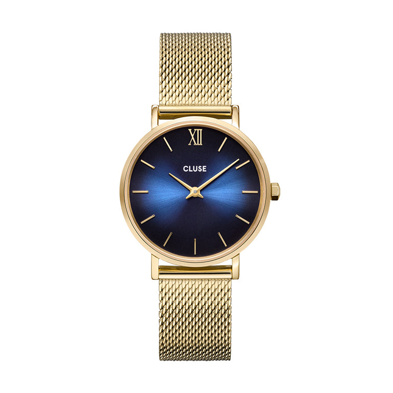 CLUSE Minuit Midnight Blue Gold Mesh Watch