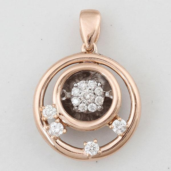 Dancing Diamonds 9ct White & Rose Gold Round Pendant