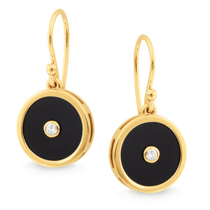 Onyx & Diamond Shepherd Hook Earring