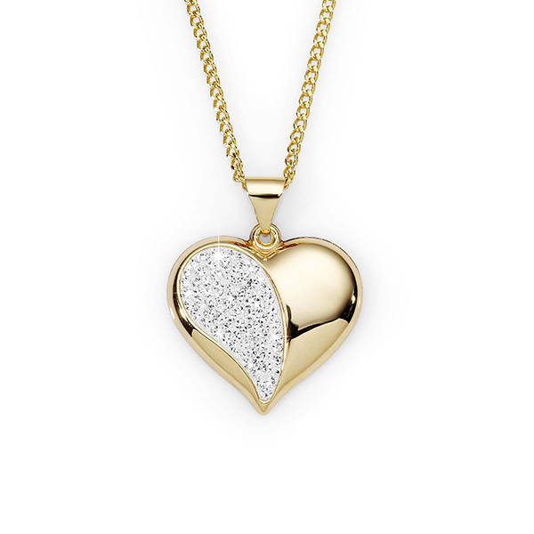Gold-Bonded Silver Crystal Heart Pendant