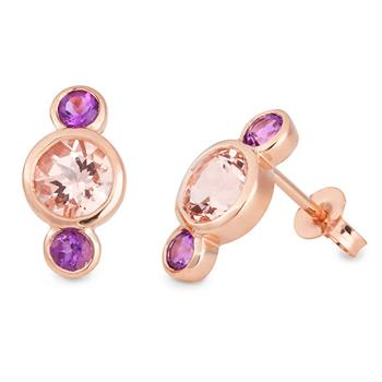 Morganite & Amethyst Stud Earring