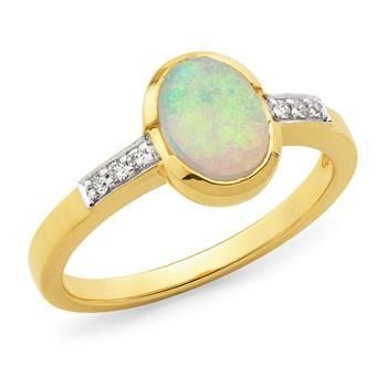 Opal & Diamond Bezel/Bead Set Dress Ring