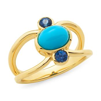 Turquoise & Sapphire Bezel Set Dress Ring