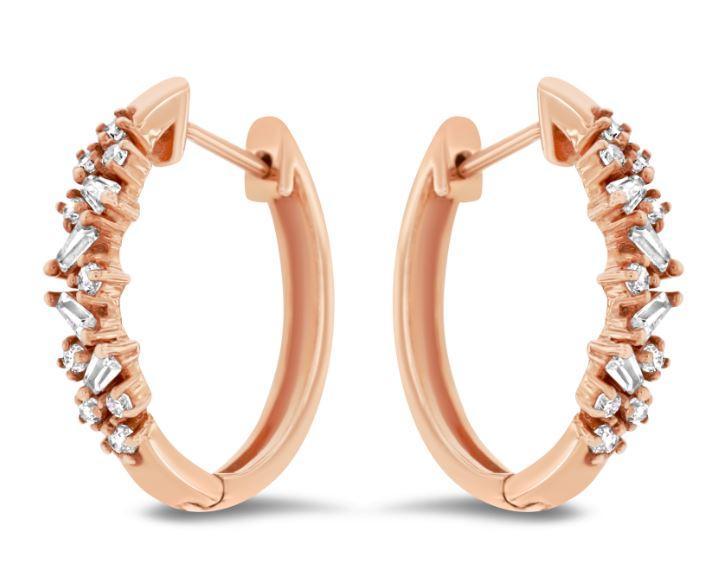 9ct rose gold diamond-set TDW=0.25ct earrings