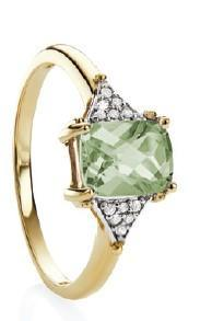 9ct Yellow Gold Green Amethyst checkerboard & Dia 0.06ct GH/I2 Ring