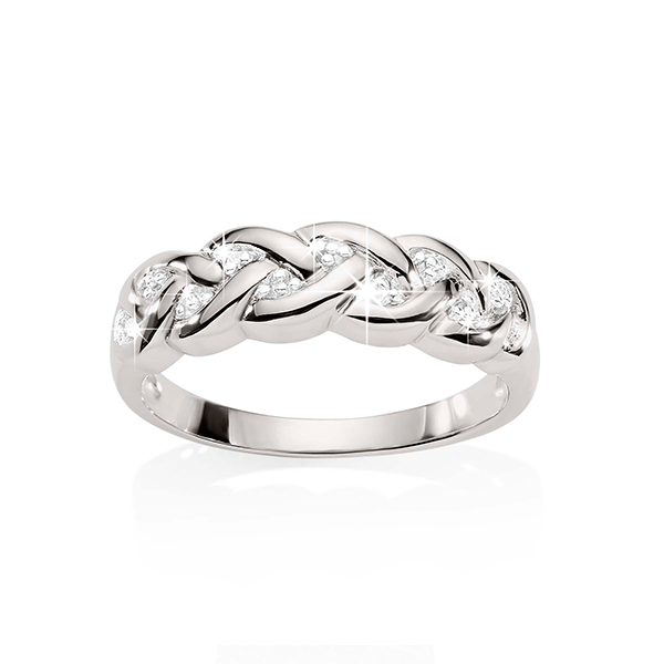 Silver diamond plait ring