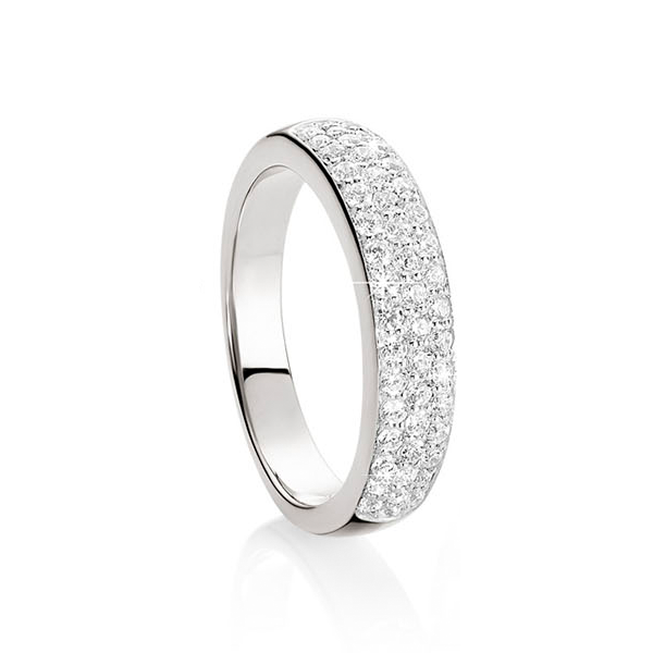 Silver pave set cubic zirconia ring