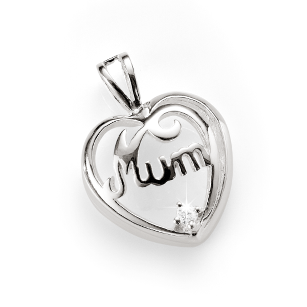Sterling Silver Cubic Zirconia 'Mum' Pendant
