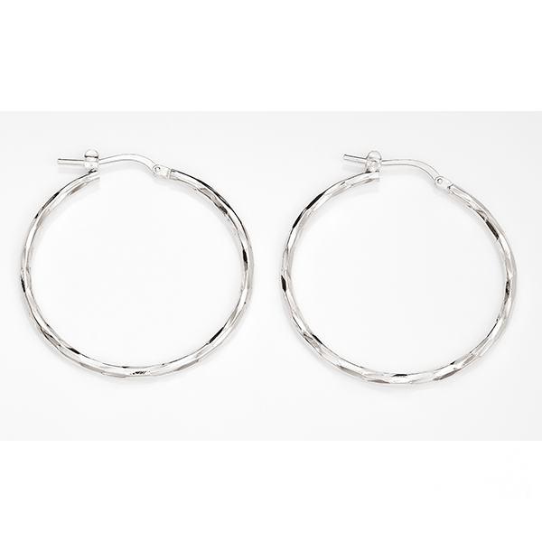 Sterling Silver Medium Diamond Cut Hoops