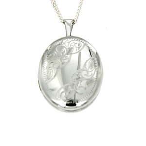 Sterling Silver Oval Shape Scroll Engraved Locket