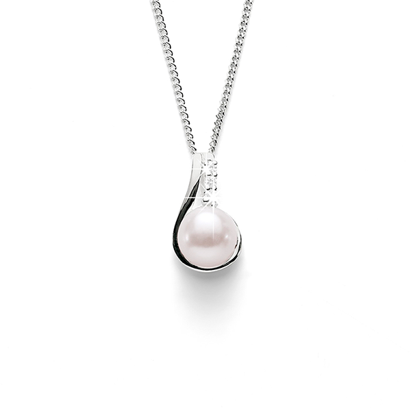 Sterling Silver Pearl and Cubic Zirconia Pendant